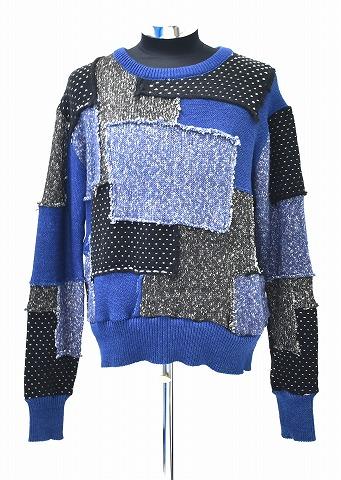 【新品】 SEVESKIG (セヴシグ) HANDMADE PATCHWORK SWEATHER ハンドメイド パッチワーク セーター ニット セブシグ INDIGO MEDIUM