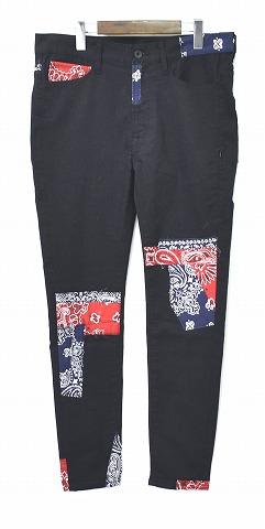 【新品】SEVESKIG (セヴシグ) EXTRA STRETCH SKINNY BLACK PANTS エキストラストレッチ スキニーブラックパンツ JEANS ジーンズ 黒 BLACK/RED&NAVY バンダナ ペイズリー MEDIUM