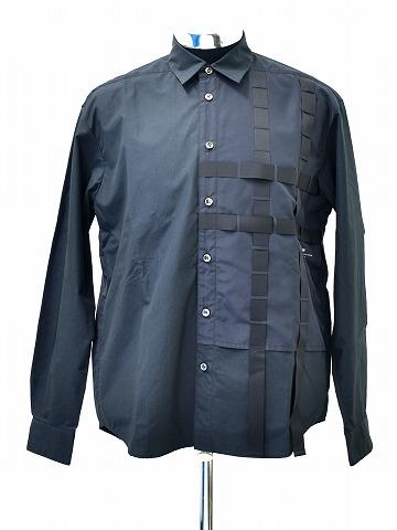 【新品】 PORTVEL (ポートヴェル) PERFORATIONS SHIRT パーフォレーション長袖シャツ デザインシャツ BLACK 2 MADE IN JAPAN