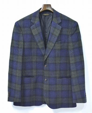 【新品】 Mr.GENTLEMAN (ミスタージェントルマン) BLUECHECK JACKET ブルーチェックジャケット テーラードジャケット2B 2つボタン ノッチド BLUE CHECK MG14F-JK03 XL