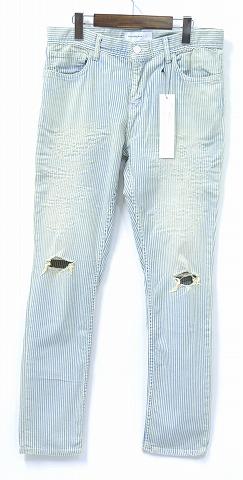 【新品】 PHENOMENON (フェノメノン) DAMAGE DENIM PANTS ダメージデニムパンツ STRIPE ヒッコリーパンツ ストライプ ワーク 32/L スキニー 16SS MADE IN JAPAN ジーンズ JEANS