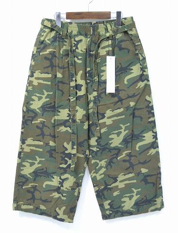 【新品】 PHENOMENON (フェノメノン) Camoflage Wide Pants カモフラージュクロップドワイドパンツ 9分丈 ハーフショーツ ワイドニーパンツ ショートパンツ クロップドパンツ カプリパンツ イージーパンツ 16SS 迷彩 40/L MADE IN JAPAN
