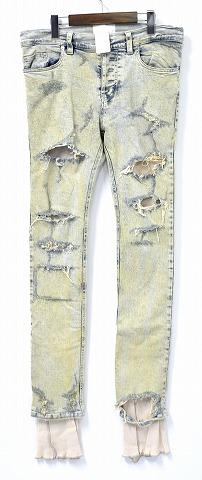 【新品】 SUB-AGE. (サベージ) THERMAL LAYERED CRASH DENIM PANTS サーマルレイヤードクラッシュデニムパンツ JEANS ジーンズ 加工 ICE INDIGO 2 MADE IN JAPAN
