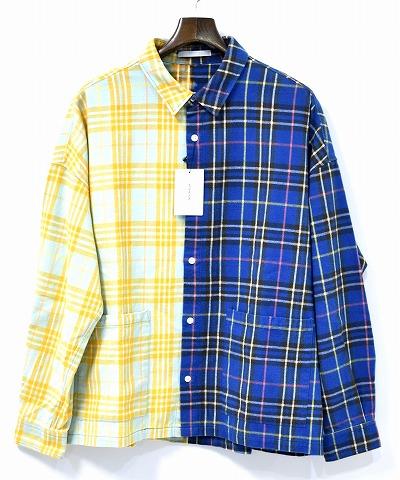 【新品】 Discovered (ディスカバード)HALF BLEACH SHIRT ハーフブリーチシャツ 長袖チェックシャツ L/S カバーオール BLUE 2 AW17-SH-08-05 MADE IN JAPN 2トーン