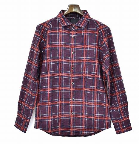 【新品】 CRUCE&Co. (クルーチェ アンド コー) 3D JAQURED CHECK SHIRT スリーディー ジャガードチェックシャツ 長袖シャツ 立体 PURPLE MADE IN USA 米国製 Circuit Check Shirt M
