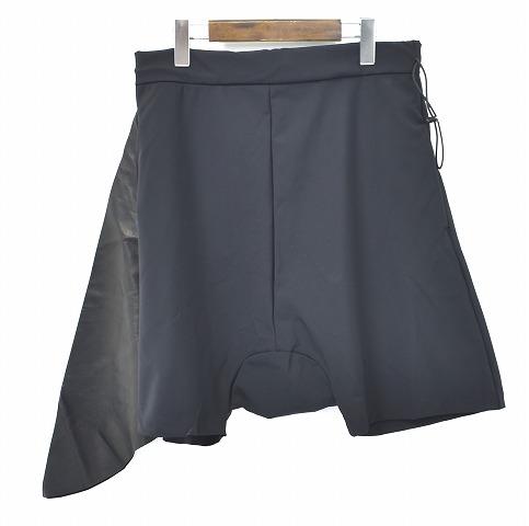 【新品】 ideal (イデアル) tecnico gabardine pelle pantaloncini sarouel テクニコギャバジンペレサルエルショーツ 48 BLACK 15SS ハーフパンツ ショートパンツ MADE IN JAPAN 短パン