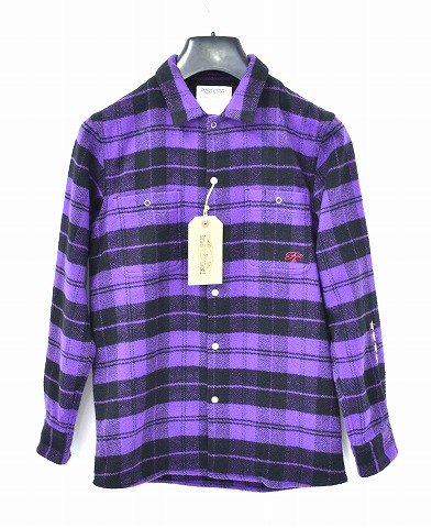 【新品】 Finders Keepers (ファインダーズキーパーズ) FK-Flannel Work Shirt L/S Purple フランネルシャツ ワークシャツ 長袖チェックシャツ 4731103   MADE IN JAPAN S
