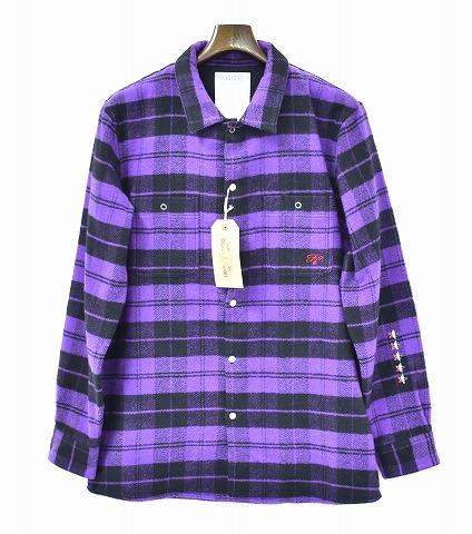 【新品】 Finders Keepers (ファインダーズキーパーズ) FK-Flannel Work Shirt L/S Purple フランネルシャツ ワークシャツ 長袖チェックシャツ 4731103   MADE IN JAPAN L