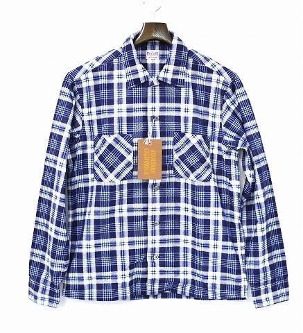 【新品】STANDARD CALIFORNIA(スタンダードカリフォルニア) SD PRINT FLANNEL CHECK SHIRT エスディープリントフランネルチェックシャツ NAVY/BLUE 長袖シャツ SMALL ワークシャツ MADE IN JAPAN