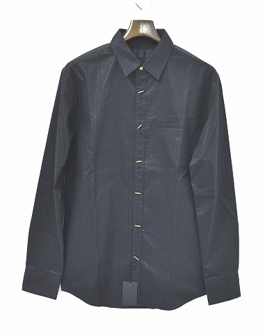 【新品】 CRUCE&Co. (クルーチェ アンド コー) Striped Shirts (CC14SS-SH6) ストライプシャツ 長袖シャツ ラメ L/S BLACK M
