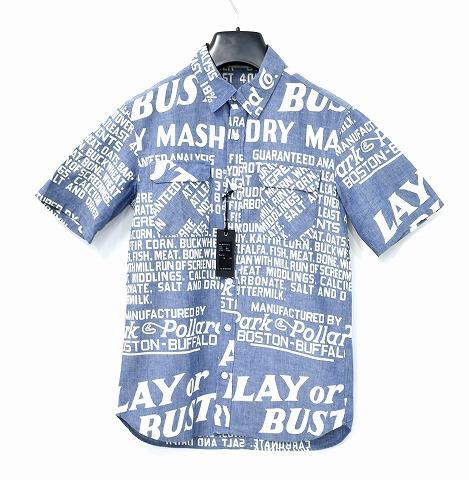 【新品】 BACK BONE (バックボーン) WABASH PRINT S/S SHIRT ウォバッシュ総柄半袖シャツ BLUE MADE IN JAPAN L BACKBONE シャンブレーシャツ セルビッチ 赤耳