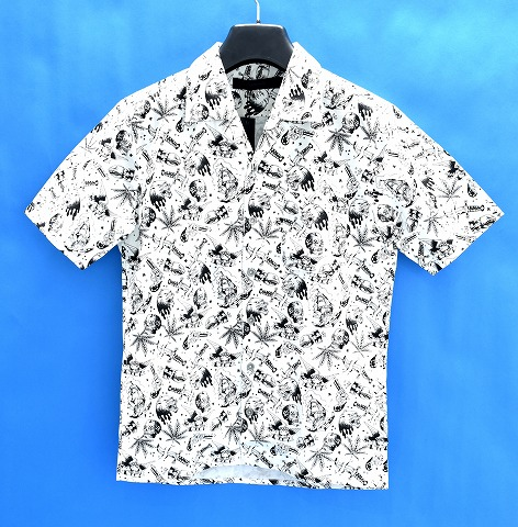 【新品】 BACK BONE (バックボーン) S/S PRINT SHIRT MIX GRAFFITI 半袖プリントシャツ ミックスグラフィティ WHITE オープンカラー 開襟 総柄 MADE IN JAPAN L