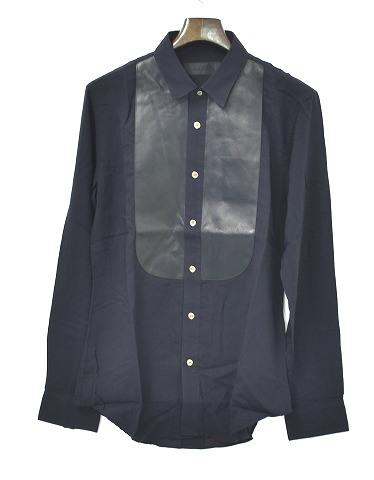 【新品】 CRUCE&Co. (クルーチェ アンド コー) Tuxedo Shirt (CC14SS-SH3) タキシードシャツ 長袖シャツ レザー L/S BLACK S MADE IN JAPAN WASHABLE COW LEATHER