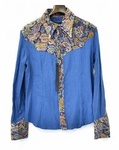 【新品】 BACKLASH ISAMU KATAYAMA (バックラッシュ イサムカタヤマ) コットンリネン + ピッグスエード シャツ 長袖ウエスタンシャツ レザーシャツ 1337-01 L/S SHIRT BLUE S MADE IN JAPAN