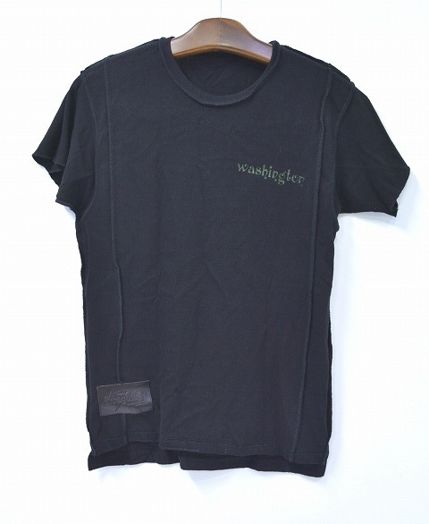 【新品同様】 IrregulaR by ZIP STEVENSON (イレギュラー バイ ジップスティーブンソン) REMAKE S/S TEE リメイクTシャツ T-SHIRT S BLACK アメリカ製 WASHINGTON ワシントン