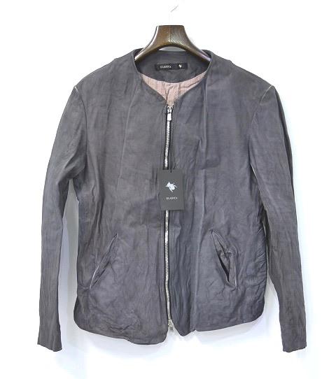 """【新品】 KLASICA (クラシカ) Leather Jacket """"SYLVAIN"""" Gray ノーカラーシングルレザーライダースジャケット 3 ジップアップ"""