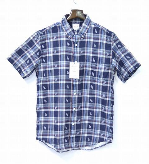 【新品】 Mr.GENTLEMAN(ミスタージェントルマン) PAISLEY S/S SHIRTS ペイズリー 半袖シャツ ボタンダウンチェックシャツ NAVY L