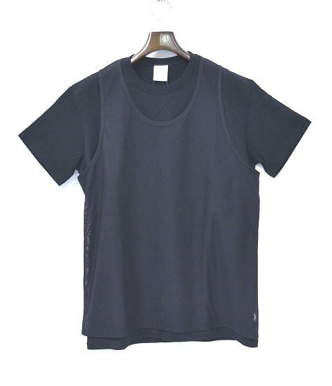 【新品】Mr.GENTLEMAN (ミスタージェントルマン) TANK TEE タンクTシャツ レイヤードT-SHIRT BLACK クルーネックS/S メッシュタンクトップ S