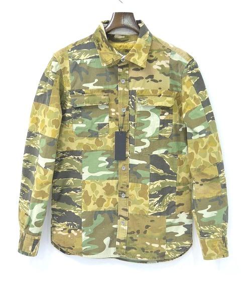 【新品】 BACKBONE THE BASIS (バックボーンザベイシス) CAMOUFLAGE CLOTH PATCHWORK SHIRT カモフラージュクロスパッチワークシャツ 長袖迷彩シャツ L  BACK BONE