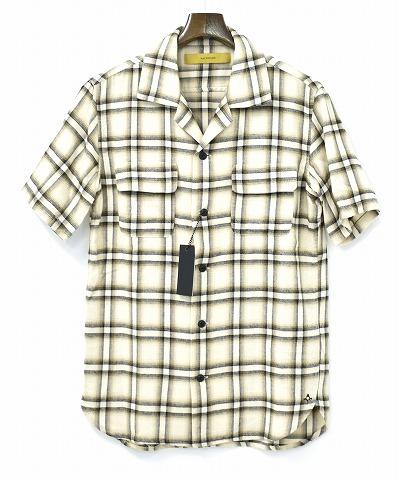 【新品】 BACKBONE (バックボーン) COTTON × RAYON PLAID OPEN COLLAR SHIRT コットン×レーヨン プレイドオープンカラーシャツ 半袖シャツ BEIGE S