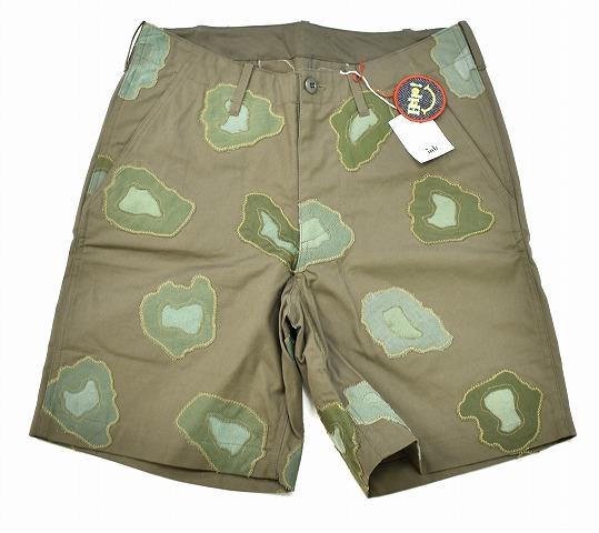 【新品】 ink (インク)Remake Military Leopard Shorts リメイクミリタリー レオパードショーツ ショートパンツ ハーフパンツ 短パン L Khaki