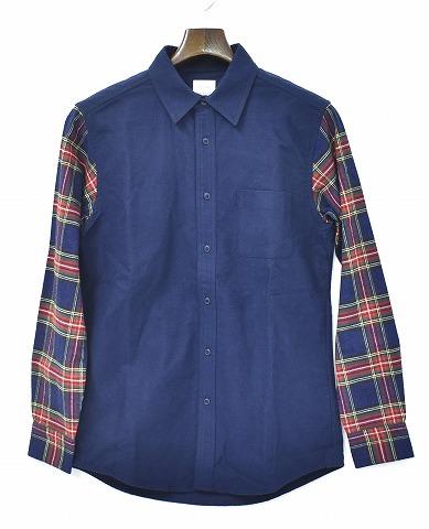 【新品】 Mr.GENTLEMAN (ミスタージェントルマン)SLEEVE SWITCHED SHIRT スリーブスイッチシャツ 長袖シャツ MGJ-SH07 ネルシャツ NAVY×ネイビーレッド S MADE IN JAPAN MISTERGENTLEMAN