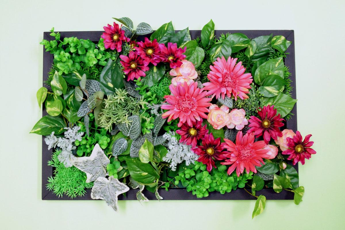 壁掛けフラワーフレーム600×400B(造花・フェイク)事務所 店舗 看板
