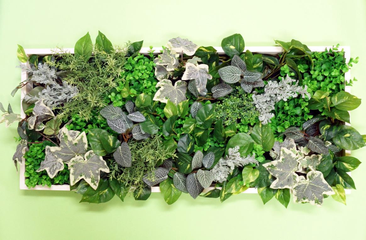 壁掛けグリーンフレーム850×350A(造花・フェイク)事務所 店舗 看板