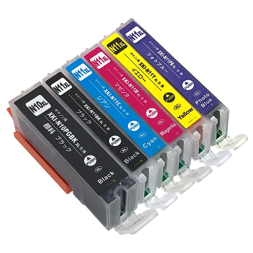 キヤノン用 互換インクカートリッジ XKI-N11XL(BK/C/M/Y/PB)+XKI-N10XLBK(顔料BK) 全色大容量 6色セット 残量表示機能付 ICチップ対応 安心一年保証