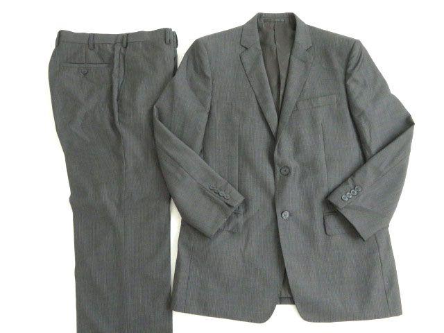 【中古】美品★ヴェルサーチコレクション ウール100% シングル2つボタン ストライプスーツ グレー 50