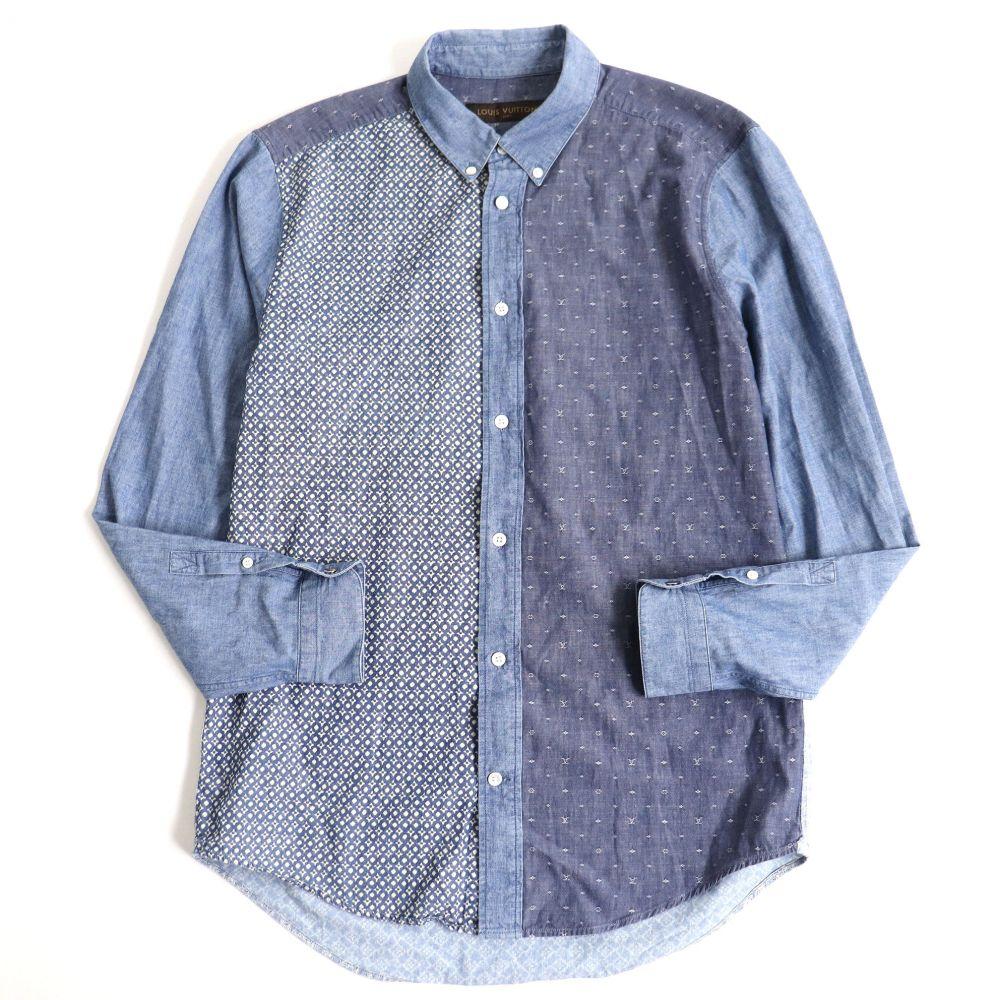 中古 美品 13AW LOUIS VUITTON ルイヴィトン モノグラム総柄 L 長袖 正規品 ブルー系 伊製 新作入荷!! 再入荷 予約販売 ボタンダウンシャツ シャンブレーシャツ