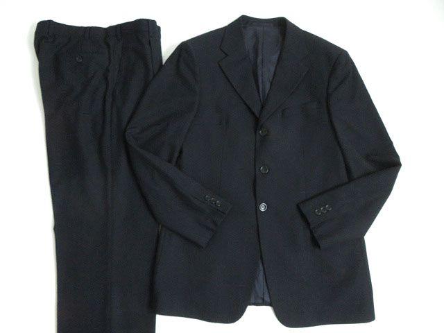 【中古】美品★イタリア製 ARMANI COLLEZIONI アルマーニ ウール100% シングル ストライプスーツ/セットアップ ダークネイビー 50 正規品 メンズ
