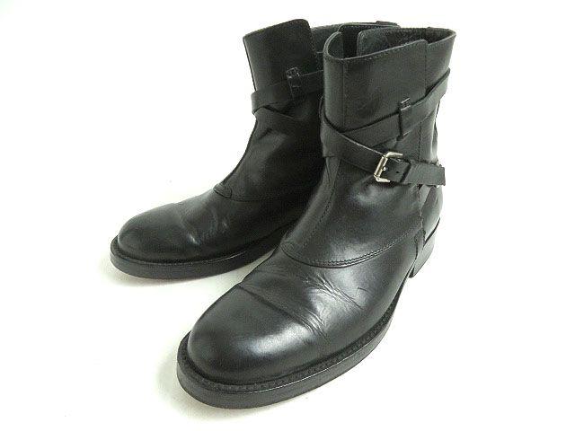 【中古】美品☆ラルフローレン RALPH LAUREN レザー ベルトデザイン ショートブーツ ブラック 9E イタリア製 メンズ
