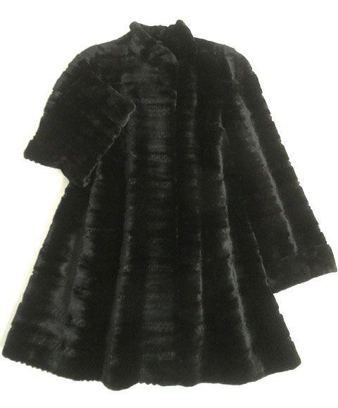 【中古】極美品▼EMBA MINK エンバ シェアードミンク 本毛皮コート ブラック×ダークブラウン 毛質柔らか◎