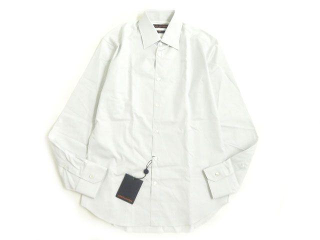 未使用品▽2019年製 ルイヴィトン SLIM FIT ストライプ柄 長袖 シャツ ホワイト×スカイブルー 39・15 1/2 イタリア製 正規品【中古】