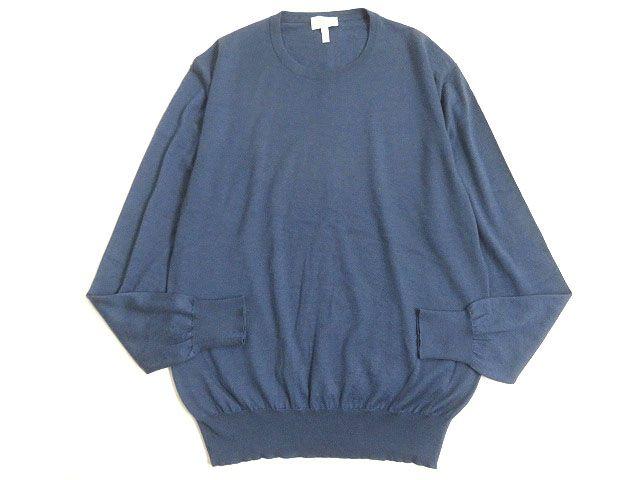 【中古】良品◎Brioni ブリオーニ シルク混 カシミヤニット/セーター ブルー系 52 正規品 イタリア製