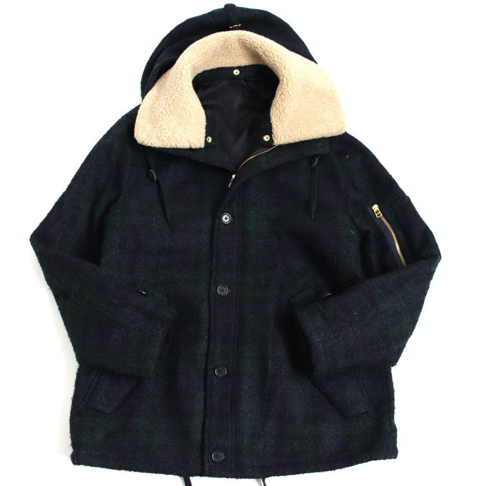 【中古】美品□ポールスミス チェック柄 襟元ボア・フード付き ウールジャケット グリーン系 L 正規品 メンズオススメ◎