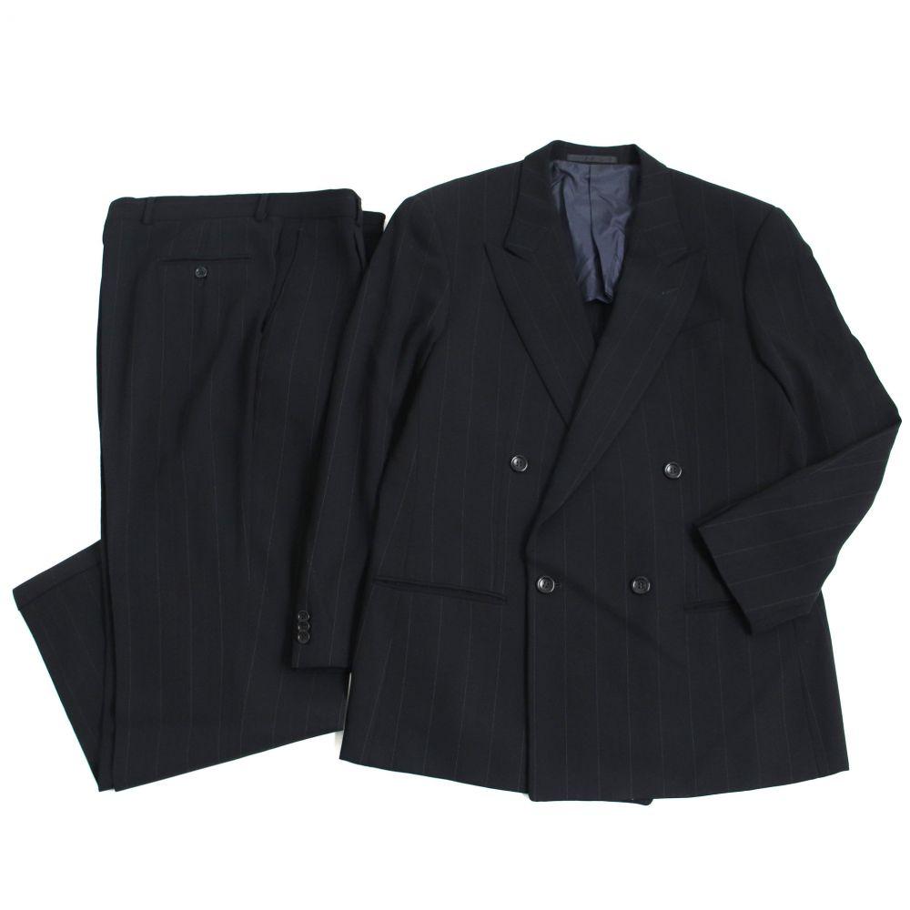 【中古】良品□ARMANI COLLEZIONI アルマーニコレツィオーニ ストライプ柄 ダブルスーツ 50R ブラック イタリア製 正規品 メンズ