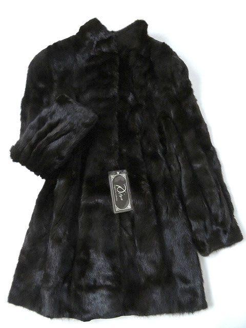 【中古】美品▼BLACKGLAMA MINK ブラックグラマ ダークミンク 裏花刺繍入り 本毛皮コート ダークブラウン 毛質艶やか・柔らか◎