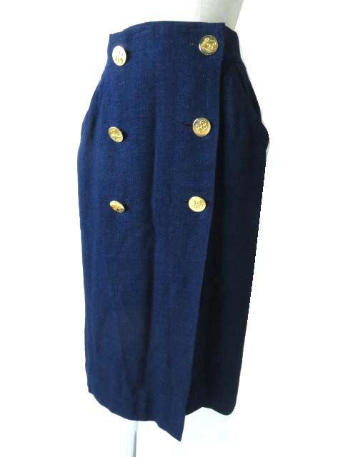 【中古】良品◎フランス製 HERMES エルメス ヴィンテージ レディース 金ボタン付き 巻き/ラップ ロングタイトスカート ブルー 40