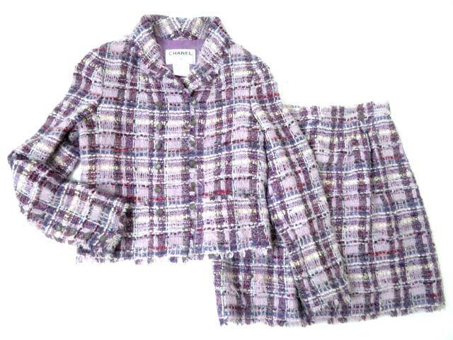【中古】極美◎正規品 シャネル レディース 05A P26900・P26901 ココマークボタン付 ジャケット+スカート ミックスツイード セットアップ 38 仏製
