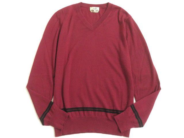 【中古】美品▽HERMES エルメス Vネック ラインデザイン カシミヤ100% 長袖 ニット/セーター ボルドー M イタリア製 正規品 メンズ