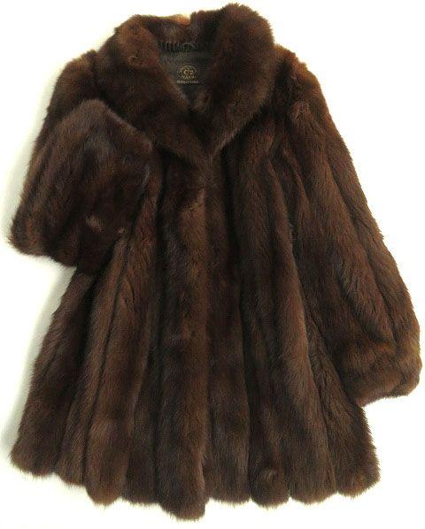 【中古】良品▼極上 SOBOL ソボル ロシアンセーブル 本毛皮コート ブラウン 毛質柔らか・ボリューム◎