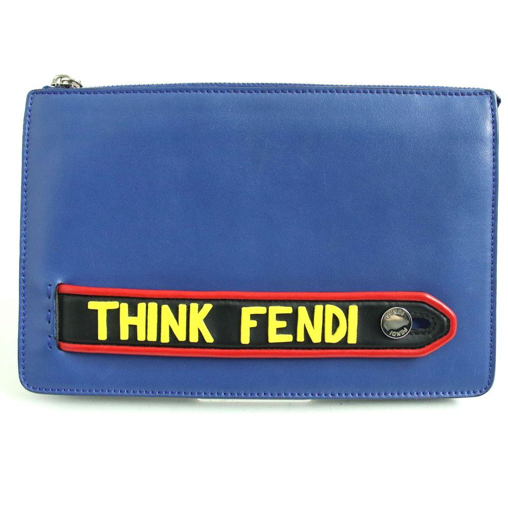 【中古】美品◆FENDI フェンディ 7VA350 AOIN ボキャブラリーTHINK レザークラッチバッグ/セカンドバッグ ブルー イタリア製 メンズ