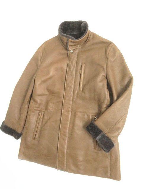 【中古】美品▽アルマーニ 比翼仕立て ダブルZIP×ボタン ムートンジャケット ブラウン EU56 シンプルなデザイン メンズ◎