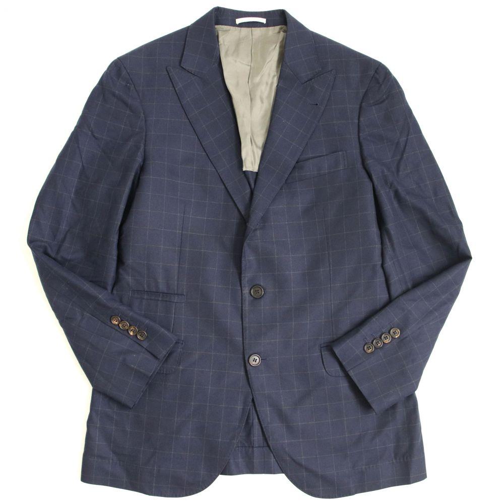 【中古】極美品▽ブルネロ クチネリ シルク混 ウィンドウペン柄 シングルジャケット ネイビー 48 イタリア製 ハンガー付き メンズ
