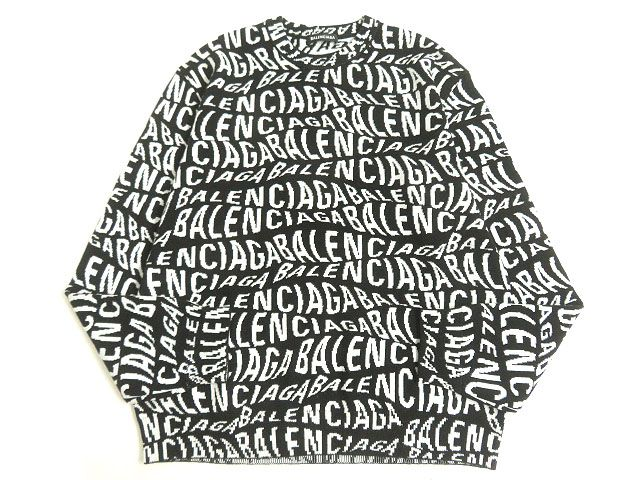 【中古】極美品◎19AW BALENCIAGA バレンシアガ 583153 ロゴ総柄 クルーネック ニット/セーター ブラック×ホワイト L 正規品 ルーマニア製 メンズ