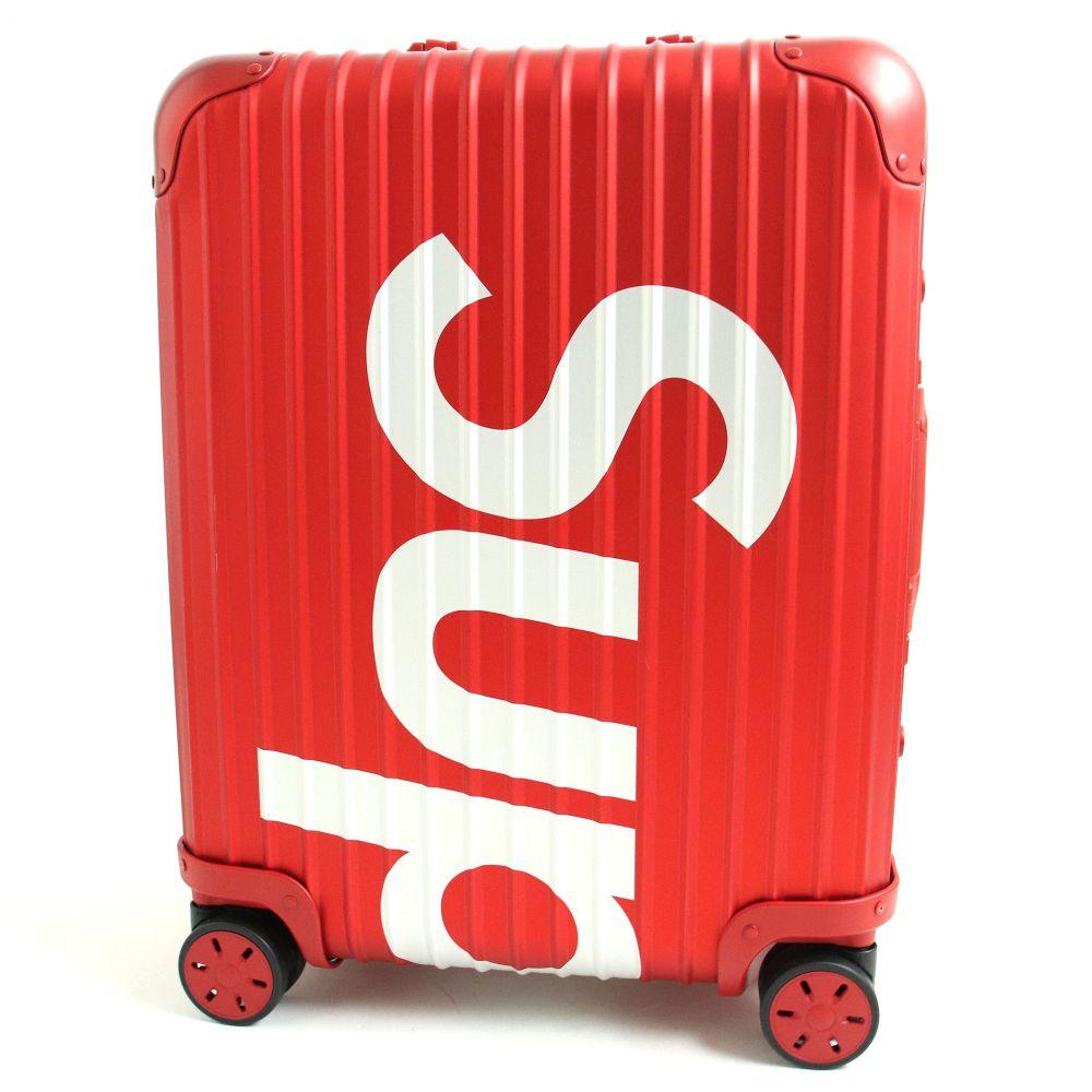 【中古】極美品◆2019年製 リモワ×シュプリーム トパーズ マルチホイール TSAロック搭載 コラボキャリーケース/スーツケース レッド ドイツ製 45L