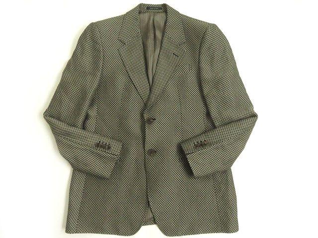 【中古】美品△黒タグ エンポリオアルマーニ ブロックチェック リネン62% シングルジャケット ベージュ系 50 イタリア製 正規品
