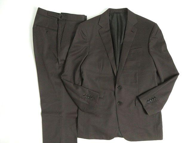 【中古】極美品☆ラルフローレン ブラックレーベル ウール100% シングルスーツ ブラウン 40R/33 イタリア製 ハンガー付